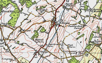 Old map of Elham in 1920