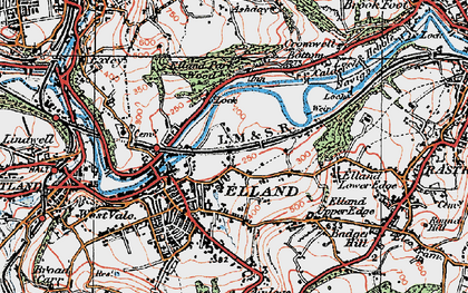 Old map of Elland in 1925