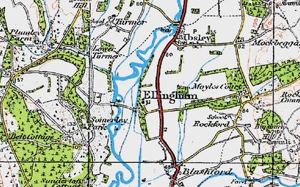 Old map of Ellingham in 1919