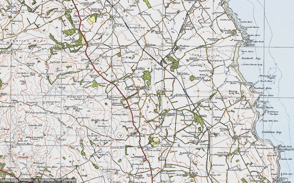 Old Map of Historic Map covering Wood Cott in 1926