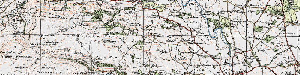Old map of Jervaulx Abbey in 1925