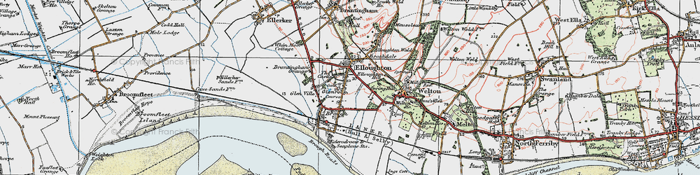 Old map of Elloughton in 1924