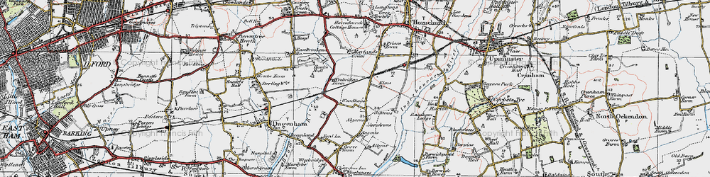 Old map of Elm Park in 1920