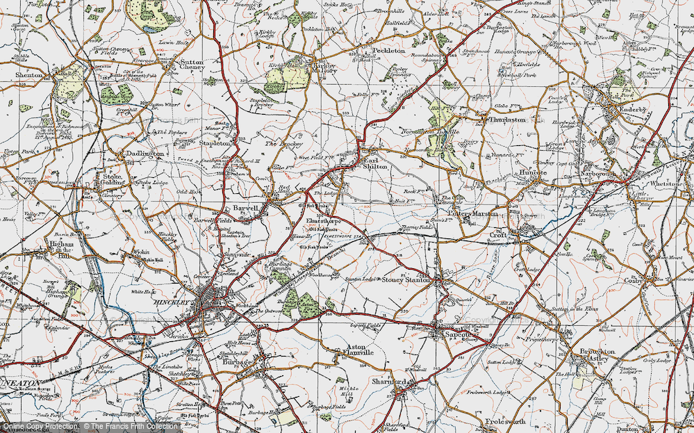 Old Map of Historic Map covering Aston Firs in 1921