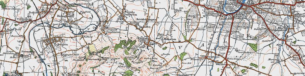 Old map of Elmley Castle in 1919