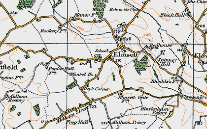 Old map of Aldham Priory in 1921