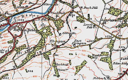 Old map of Yellow Rigg in 1925