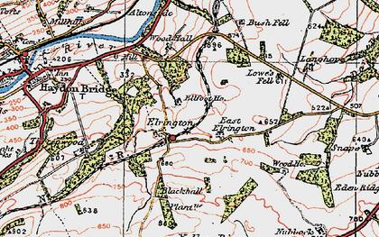 Old map of West Nubbock in 1925
