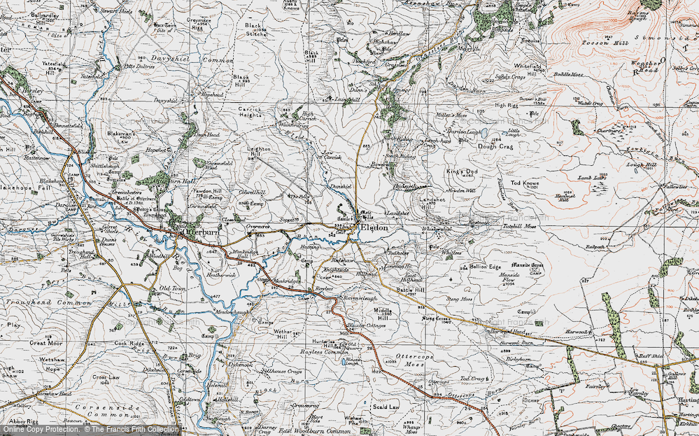 Old Map of Historic Map covering Leech-hope Crag in 1925