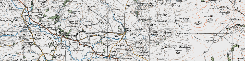 Old map of Leech-hope Crag in 1925