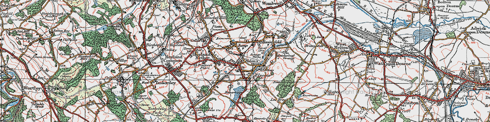 Old map of Elsecar in 1924