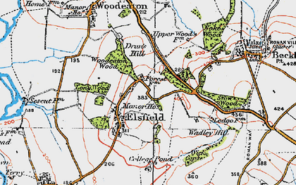 Old map of Wick Copse in 1919