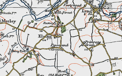 Old map of Elsing in 1921