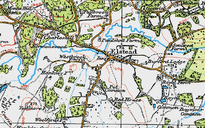 Old map of Elstead in 1919