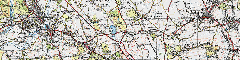Old map of Aldenham Country Park in 1920