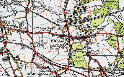 Old map of Eltham in 1920