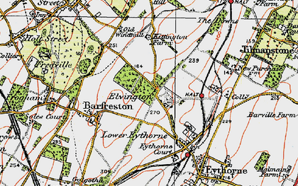 Old map of Elvington in 1920