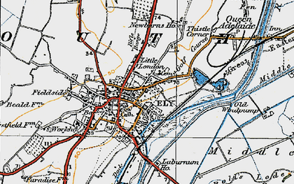 Old map of Ely in 1920