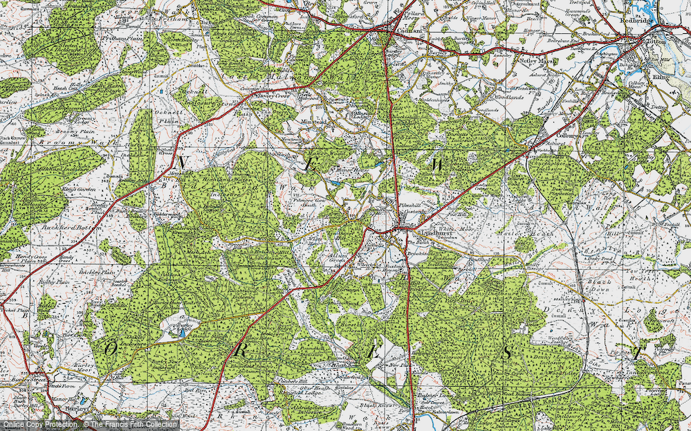 Old Map of Historic Map covering Acres Down in 1919
