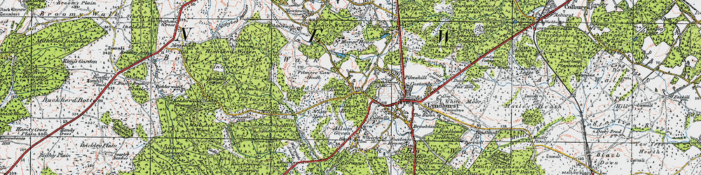 Old map of Acres Down in 1919