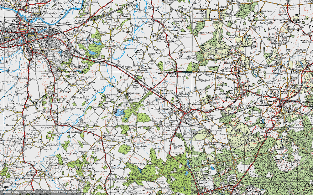 Old Map of Historic Map covering Woose Hill in 1919