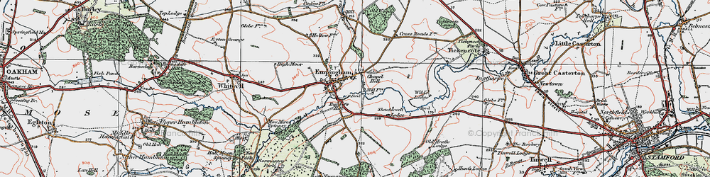 Old map of Empingham in 1922