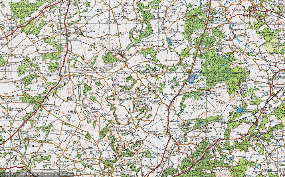 Old Map of Historic Map covering Le Court in 1919