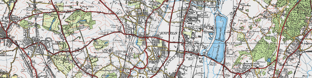 Old map of Enfield in 1920