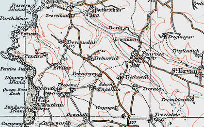Old map of Engollan in 1919