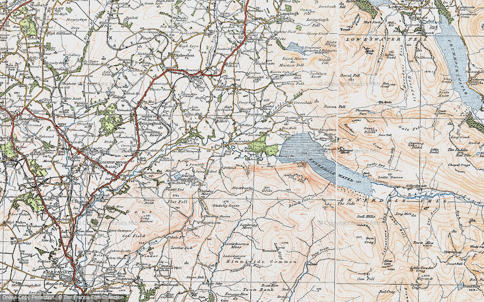 Old Map of Historic Map covering Lanefoot in 1925