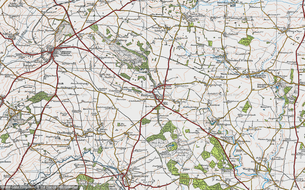 Old Map of Enstone, 1919 in 1919