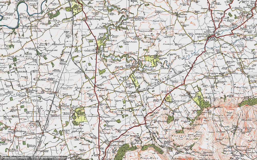 Old Map of Historic Map covering Toft Hill in 1925