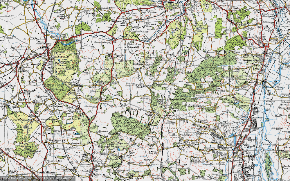 Old Map of Historic Map covering Woodcock Lodge in 1919