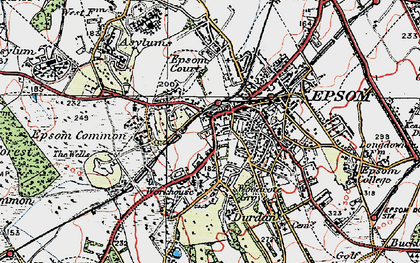 Old map of Epsom in 1920