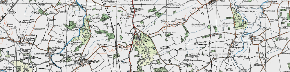 Old map of Escrick in 1924