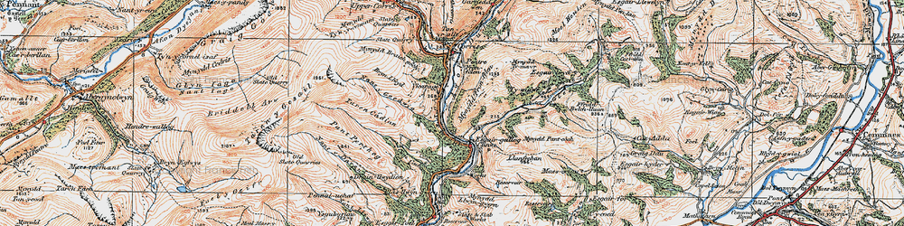 Old map of Esgairgeiliog in 1921