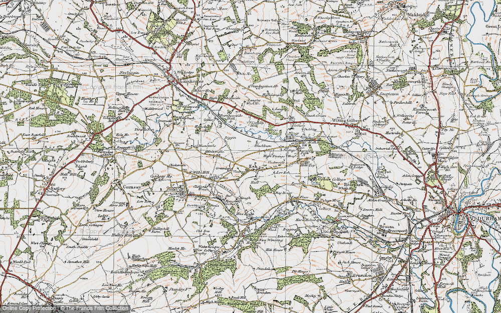 Old Map of Historic Map covering Langley West Ho in 1925