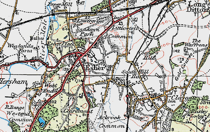 Old map of Esher in 1920