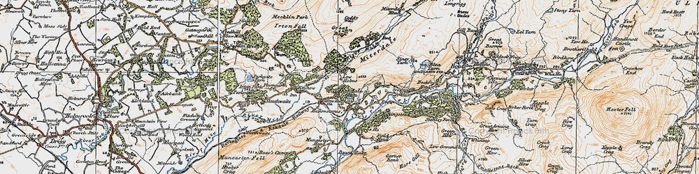 Old map of Eskdale Green in 1925