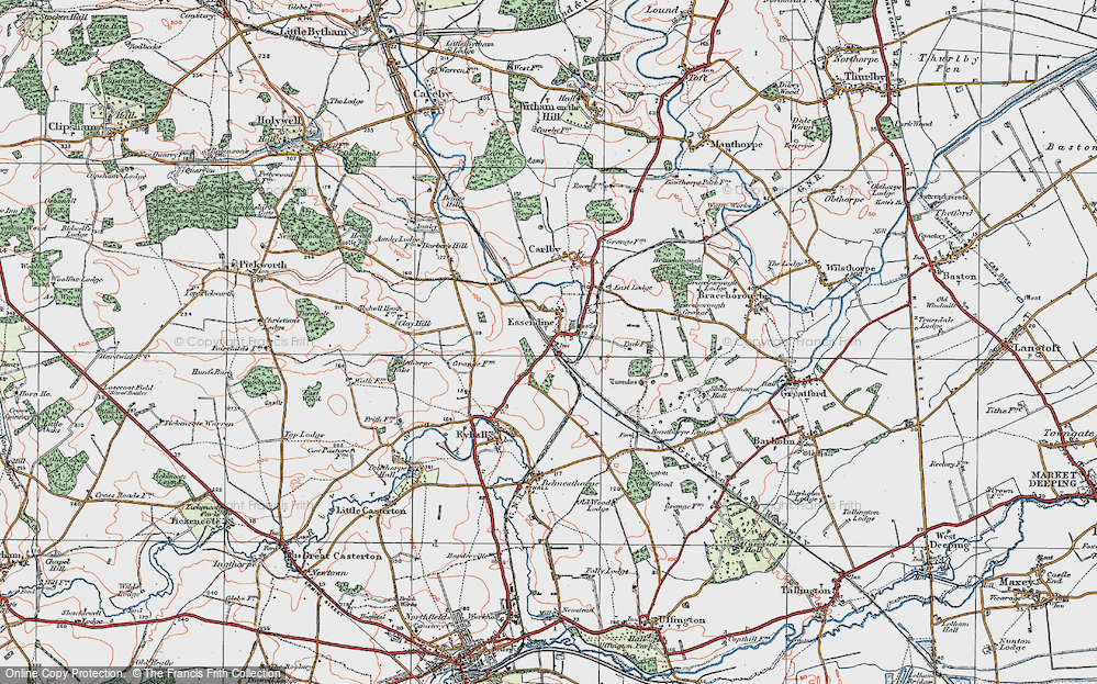 Old Map of Historic Map covering Tolethorpe Oaks in 1922