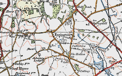 Old map of Essington in 1921