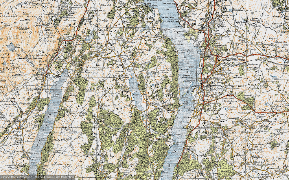 Old Map of Esthwaite Water, 1925 in 1925