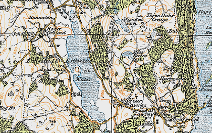 Old map of Esthwaite Water in 1925