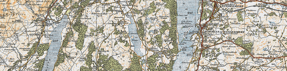 Old map of Esthwaite Water in 1925