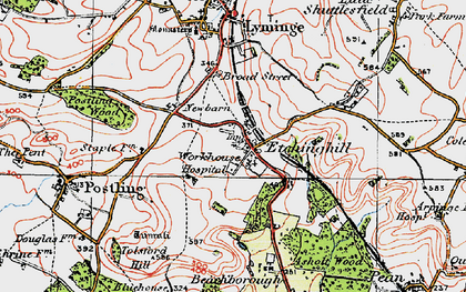 Old map of Etchinghill in 1920