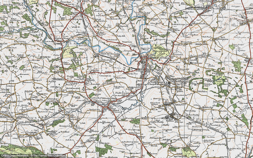 Old Map of Historic Map covering Woodhouses in 1925