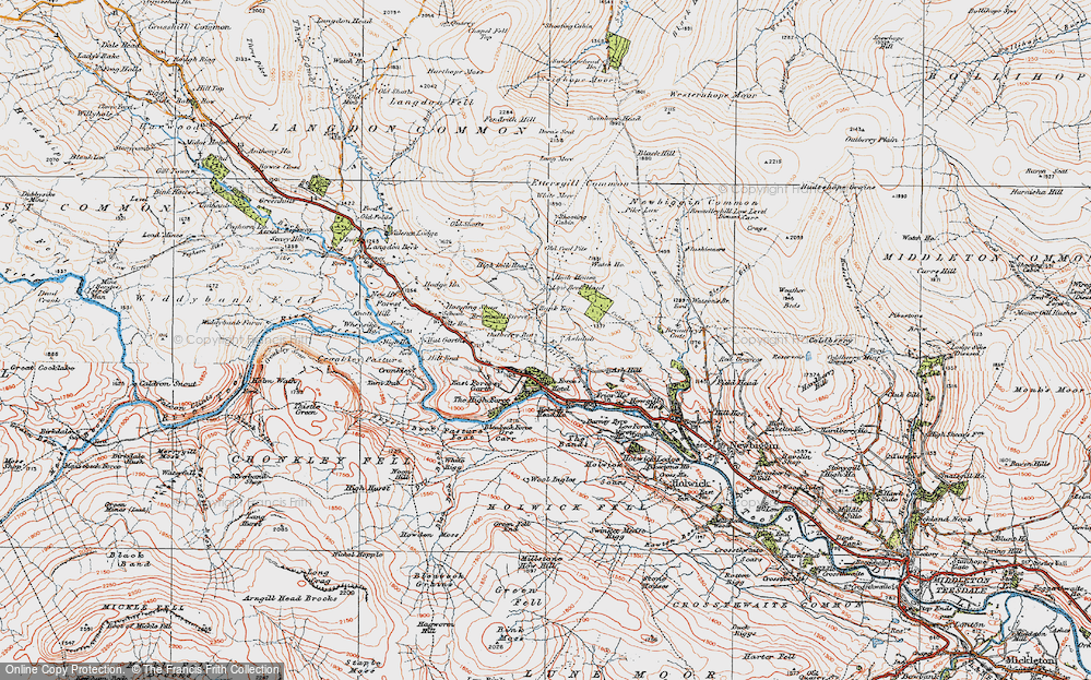 Old Map of Historic Map covering Wool Pits Hill in 1925