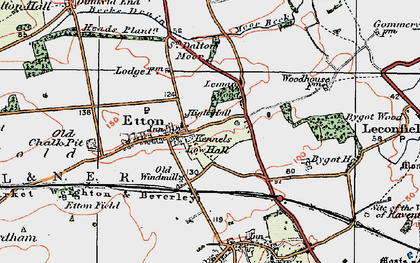 Old map of Etton Pasture School in 1924