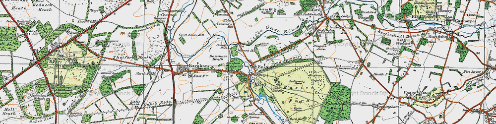 Old map of Wrottesley Wood in 1920