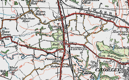 Old map of Euxton in 1924
